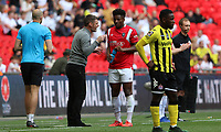 Devante Rodney of Salford City gets instructions from Graham Alexander manager of Salford City during AFC Fylde vs Salford City, Vanarama National League Play-Off Final Football at Wembley Stadium on 11th May 2019