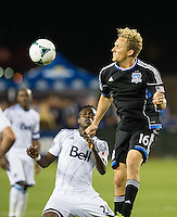 SANTA CLARA, CA - April 6, 2013: San Jose forward Steven Lenhart (16) heads a ball during the San Jose Earthquakes vs Vancouver Whitecaps FC game at Buck Shaw Stadium in Carson, California. Final score San Jose Earthquakes 1, Vancouver Whitecaps FC 1.