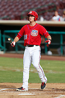 Alex Yarbrough #24 of the Inland Empire 66'ers bats against the Lake Elsinore Storm at San Manuel Stadium on June 23, 2013 in San Bernardino, California. Lake Elsinore defeated Inland Empire, 6-2. (Larry Goren/Four Seam Images)