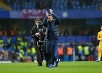 9th November 2019; Stamford Bridge, London, England; English Premier League Football, Chelsea versus Crystal Palace; Chelsea Manager Frank Lampard on the pitch celebrating in front of the Chelsea fans after full time - Strictly Editorial Use Only. No use with unauthorized audio, video, data, fixture lists, club/league logos or 'live' services. Online in-match use limited to 120 images, no video emulation. No use in betting, games or single club/league/player publications