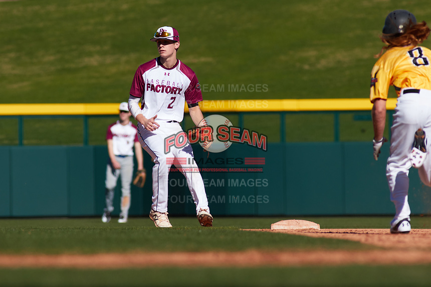 Derek Trobough (2) of Archbishop Murphy High School in Snohomish, Washington during the Baseball Factory All-America Pre-Season Tournament, powered by Under Armour, on January 13, 2018 at Sloan Park Complex in Mesa, Arizona.  (Freek Bouw/Four Seam Images)