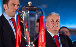 Wales's national rugby team who won both the Six Nations and the Grand Slam are welcomed to the National Assembly for Wales Senedd building in Cardiff Bay today for a public celebration event. Coach Warren Gatland during the event.