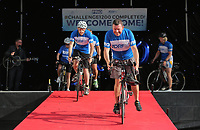 The five cyclists move off the  stage