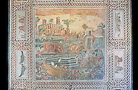 Roman floor mosaic with a Nile landscape and animals. From the vineyard Maccarani at S.Saba Aventine, Rome. 2nd century AD. National Roman Museum, Rome, Italy