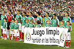 "7 February 2007: Mexico starters behind a banner that says (translated) ""Clean game - also in the stands"". The United States National Team defeated Mexico 2-0 at University of Phoenix Stadium in Glendale, Arizona in an International Friendly soccer match."