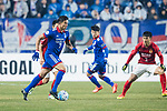 Suwon Forward Johnathan Da Silva Vilela (L) in action during the AFC Champions League 2017 Group G match Between Suwon Samsung Bluewings (KOR) vs Guangzhou Evergrande FC (CHN) at the Suwon World Cup Stadium on 01 March 2017 in Suwon, South Korea. Photo by Victor Fraile / Power Sport Images