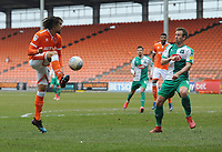 Blackpool's Nya Kirby under pressure from Plymouth Argyle's David Fox<br /> <br /> Photographer Kevin Barnes/CameraSport<br /> <br /> The EFL Sky Bet League One - Blackpool v Plymouth Argyle - Saturday 30th March 2019 - Bloomfield Road - Blackpool<br /> <br /> World Copyright © 2019 CameraSport. All rights reserved. 43 Linden Ave. Countesthorpe. Leicester. England. LE8 5PG - Tel: +44 (0) 116 277 4147 - admin@camerasport.com - www.camerasport.com