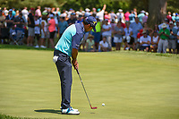 Anirban Lahiri (IND) sinks his par putt on 7 during 3rd round of the World Golf Championships - Bridgestone Invitational, at the Firestone Country Club, Akron, Ohio. 8/4/2018.<br /> Picture: Golffile | Ken Murray<br /> <br /> <br /> All photo usage must carry mandatory copyright credit (© Golffile | Ken Murray)