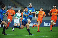 Stephen Perofeta passes during the Super Rugby match between the Blues and Jaguares at Eden Park in Auckland, New Zealand on Friday, 28 April 2018. Photo: Dave Lintott / lintottphoto.co.nz