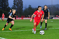 Natasha Harding of Wales Women's' in action during the Women's International Friendly match between Wales and New Zealand at the Cardiff International Sports Stadium in Cardiff, Wales, UK. Tuesday 04 June, 2019