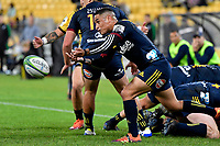 Highlanders&rsquo; Aaron Smith in action during the Super Rugby - Hurricanes v Highlanders at Westpac Stadium, Wellington, New Zealand on Friday 8 March 2019. <br /> Photo by Masanori Udagawa. <br /> www.photowellington.photoshelter.com