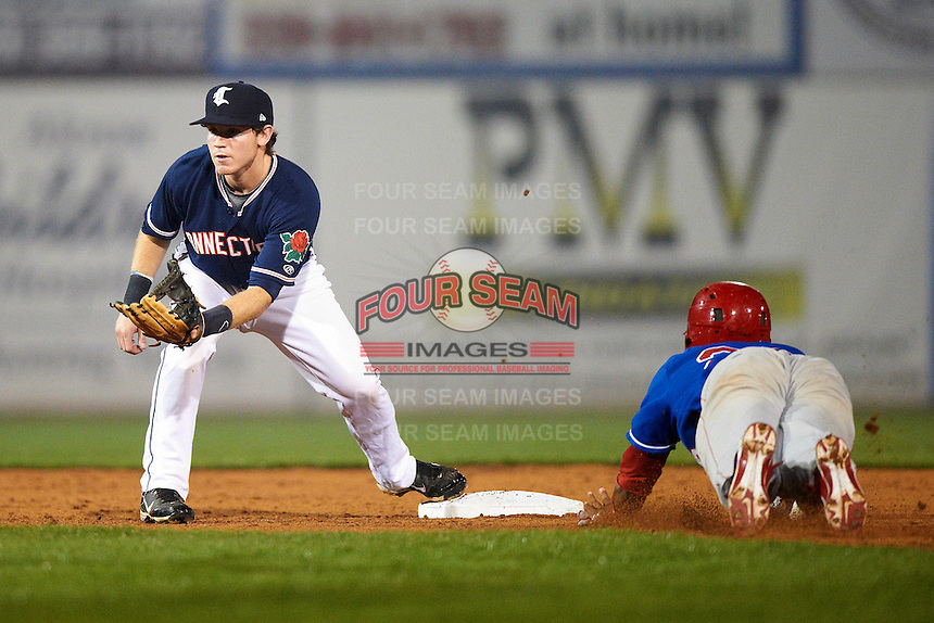 Connecticut Tigers infielder Jared Reaves #28 covers the bag during the NY-Penn League All-Star Game at Eastwood Field on August 14, 2012 in Niles, Ohio.  National League defeated the American League 8-1.  (Mike Janes/Four Seam Images)