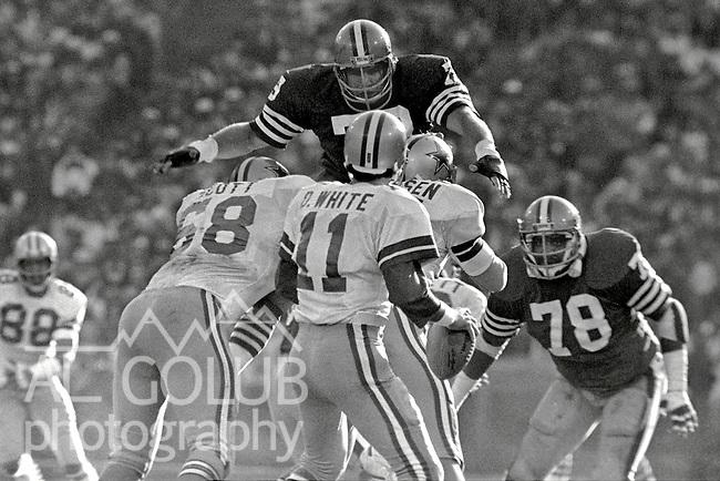 San Francisco 49ers vs.Dallas Cowboys at Candlestick Park Sunday, January 10. 1982..49ers beat Cowboys 28-27 for Conference Championship..San Francisco Defensive End Jim Stuckey (79) blocks Dallas Cowboy Quarterback Danny White (11) from passing...Photo By Al Golub/Golub Photography.