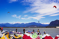 Kiteboarding / Kite Surfing at Squamish Spit, Squamish, BC, British Columbia, Canada - Howe Sound and Coast Mountains, Summer