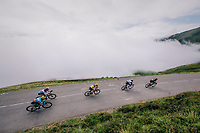GC contenders Primoz Roglic (SVK/LottoNL-Jumbo), Geraint Thomas (GBR/SKY), Tom Dumoulin (NED/Sunweb),  Romain Bardet (FRA/AG2R-La Mondiale) & Mikel Landa (ESP/Movistar) coming down the last climb of the 2018 Tour: the Col d'Aubisque (HC/1709m/16.6km@4.9%)<br /> <br /> Stage 19: Lourdes > Laruns (200km)<br /> <br /> 105th Tour de France 2018<br /> ©kramon