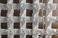 OrigamiUSA Convention 2015 Exhibition. Rose Auditorium Wall designed by Uyen Nguyen and folded by Jennifer Tashman, Uyen Nguyen, Talo Kawasaki, Kyle Ikuma, Kathryn Wagner, Judy Kapner, Ryan Dong, Huy Voun Lee.