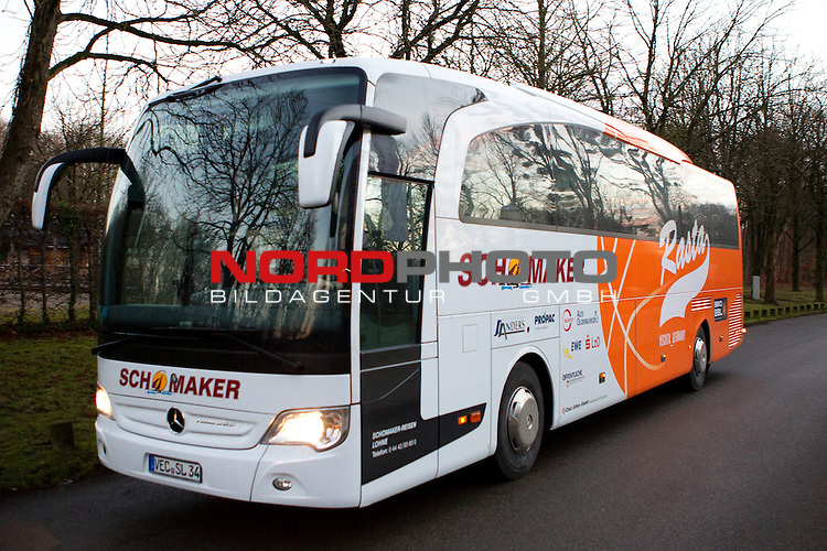 15.12.2013, Audi Dome, Muenchen, GER, Beko BBL, FC Bayern Muenchen vs. RASTA Vechta, im Bild Bus Der Rasta Vechta <br /> <br /> Foto &copy; nordphoto / Straubmeier
