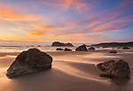 Coos County, OR: Sunset clouds reflecting on Bandon beach at low tide