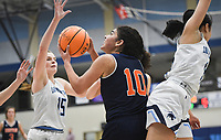 Heritage guard Quiara Jones (10) shoots, Friday, February 7, 2020 during a basketball game at Wildcat Arena at Har-Ber High School in Springdale. Check out nwaonline.com/prepbball/ for today's photo gallery.<br /> (NWA Democrat-Gazette/Charlie Kaijo)