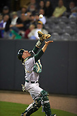 Siena Saints catcher Phil Madonna (3) attempts to catch a foul ball popup during a game against the UCF Knights on February 17, 2017 at UCF Baseball Complex in Orlando, Florida.  UCF defeated Siena 17-6.  (Mike Janes/Four Seam Images)