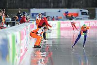 SCHAATSEN: BOEDAPEST: Essent ISU European Championships, 08-01-2012, 5000m Ladies, coach Renate Groenewold, Annouk van der Weijden NED , ©foto Martin de Jong