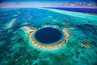 The Blue Hole, Blue Hole National Monument, Belize,  Caribbean Sea, MesoAmerican Reef, Lighthouse Reef Atoll, 400 foot hole in reef surface from ice age, Largest reef in Western Hemisphere. Aerial view
