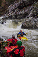 Kayaking on Crooked Creek in the Ouachita National Forrest in Akransas after a heavy fall rain.