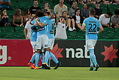 9th January 2018, nib Stadium, Perth, Australia; A League football, Perth Glory versus Melbourne City; Melbourne City players celebrate their 2-0 lead with goalscorer Ross McCormack