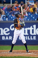 Wilmington Blue Rocks third baseman Wander Franco (11) at bat during a game against the Lynchburg Hillcats on June 3, 2016 at Judy Johnson Field at Daniel S. Frawley Stadium in Wilmington, Delaware.  Lynchburg defeated Wilmington 16-11 in ten innings.  (Mike Janes/Four Seam Images)