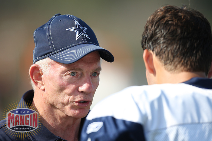 OXNARD - JULY 26:  Owner Jerry Jones talks with quarterback Tony Romo of the Dallas Cowboys after drills at training camp in Oxnard, California on July 26, 2008.  Photo by Brad Mangin