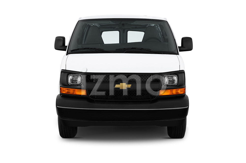 Car photography straight front view of a 2017 Chevrolet Express 3500 3500 Extended Work Van 4 Door Cargo Van