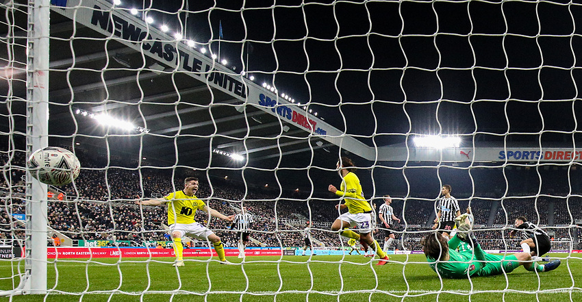 Blackburn Rovers' Bradley Dack runs off to celebrate after opening the scoring with a header<br /> <br /> Photographer Alex Dodd/CameraSport<br /> <br /> Emirates FA Cup Third Round - Newcastle United v Blackburn Rovers - Saturday 5th January 2019 - St James' Park - Newcastle<br />  <br /> World Copyright © 2019 CameraSport. All rights reserved. 43 Linden Ave. Countesthorpe. Leicester. England. LE8 5PG - Tel: +44 (0) 116 277 4147 - admin@camerasport.com - www.camerasport.com