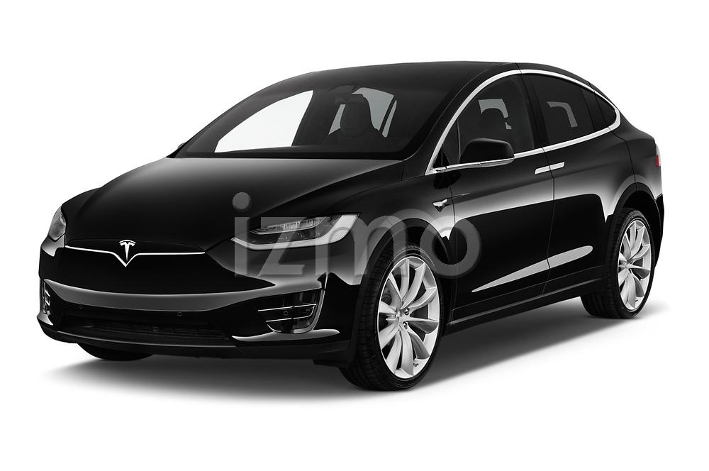 2017 Tesla Model X 100D 5 Door SUV angular front stock photos of front three quarter view