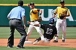 4 JUNE 2016:  Tyler Orris (8) of Millersville University forces baserunner Sebastian Diaz (12) of Nova Southeastern University out at second base but can't complete the double play during the Division II Men's Baseball Championship held at the USA Baseball National Training Complex in Cary, NC.  Nova Southeastern University defeated Millersville University 8-6 to win the national title.  Grant Halverson/NCAA Photos