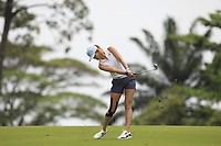 Michelle Wie (USA) in action on the 18th during Round 1 of the HSBC Womens Champions 2018 at Sentosa Golf Club on the Thursday 1st March 2018.<br /> Picture:  Thos Caffrey / www.golffile.ie<br /> <br /> All photo usage must carry mandatory copyright credit (&copy; Golffile | Thos Caffrey)