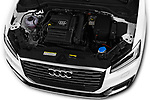 Car stock 2017 Audi Q2 Sport 5 Door SUV engine high angle detail view