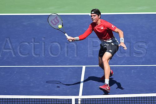 19.03.2016. Indian Wells, California USA. BNP Paribas tennis tournament, Mens semi-finals.  Milos Raonic (Can) beats David Goffin in 3 sets 6-3 3-6 6-3 to make the final