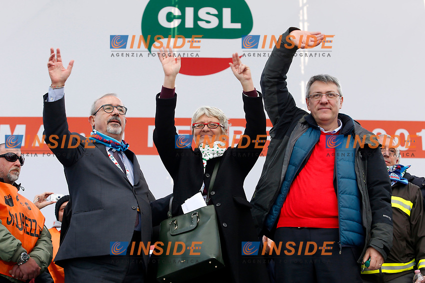 Carmelo Barbagallo UIL, Annamaria FurlanCISL e Maurizio Landini CGIL<br /> Rome February 9th 2019. Demonstration of the three Italian trade unions, CGIL, CISL, UIL.<br /> Foto Samantha Zucchi Insidefoto