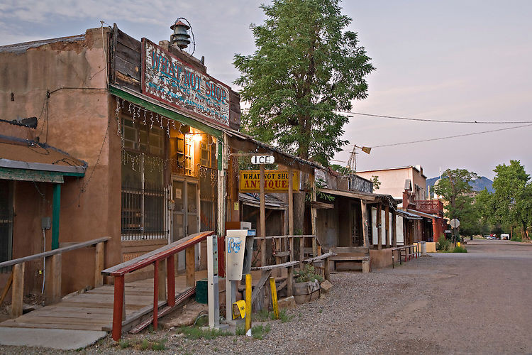 The What Not Shop and other historic buildings in Los Cerrillos, New Mexico