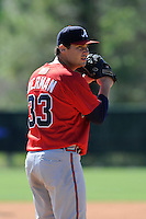 Pitcher Sean Bierman (33) of the Atlanta Braves farm system in a Minor League Spring Training workout on Monday, March 16, 2015, at the ESPN Wide World of Sports Complex in Lake Buena Vista, Florida. (Tom Priddy/Four Seam Images)