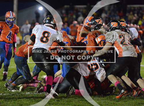 Attica Blue Devils Varsity Football against the Wellsville Lions at Attica High School in Attica, New York.  (Copyright Mike Janes Photography)
