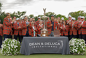 28th May 2017, Fort Worth, Texas, USA; Kevin Kisner addresses the gallery after winning the PGA Dean & Deluca Invitational at Colonial Country Club in Fort Worth, TX.