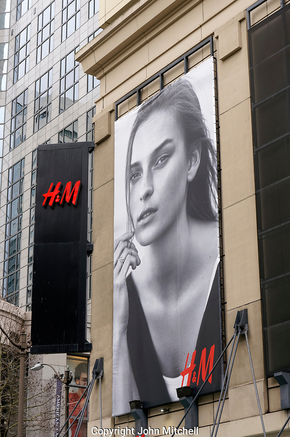 H&M clothing and fashion store in downtown Seattle, Washington, USA