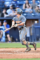Tennessee Volunteers second baseman Jeff Moberg (6) swings at a pitch during a game against the UNC Asheville Bulldogs at McCormick Field on March 15, 2016 in Asheville, North Carolina. The Volunteers defeated the Bull Dogs 7-3. (Tony Farlow/Four Seam Images)