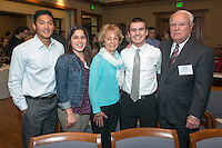From left, Scott Hong '14, Teresa Mojarro '15, Barbara Parrott '63, Matthew Cecconi '16 and William Parrott '62. Occidental College hosts the Scholarship Appreciation Reception, February 13, 2014 in Dumke Commons of Swan Hall.  (Photo by Marc Campos, Occidental College Photographer)