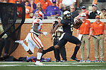 Wake Forest Demon Deacons quarterback Kendall Hinton (2) breaks through the Clemson Tigers defense on his way to a 53-yard run during second half action at BB&T Field on October 6, 2018 in Winston-Salem, North Carolina. the Tigers defeated the Demon Deacons 63-3. (Brian Westerholt/Sports On Film)