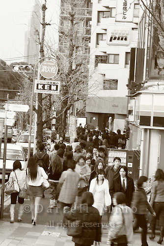 Mar 7, 2006; Tokyo, JPN; Harajuku.Pedestrians flood the streets at quitting time in Harajuku...Photo credit: Darrell Miho