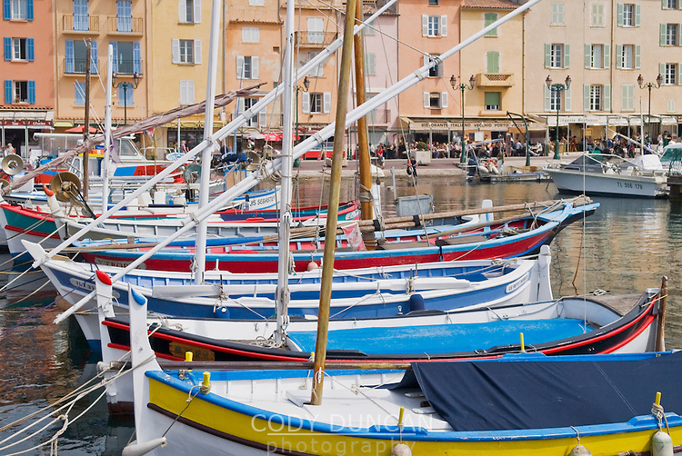 Colorful sailboats in harbor at St. Tropez, France