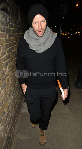 Chris Martin attending Rolling Stone Mick Jagger's Christmas party in London, UK.<br /> <br /> DECEMBER 13th 2018. Credit: Matrix/MediaPunch ***FOR USA ONLY***<br /> <br /> REF: LTN 184623