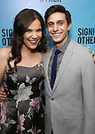 """Lindsay Mendez and Gideon Glick attend the Broadway Opening Night performance after party for """"Significant Other"""" at the Redeye Grill on March 2, 2017 in New York City."""